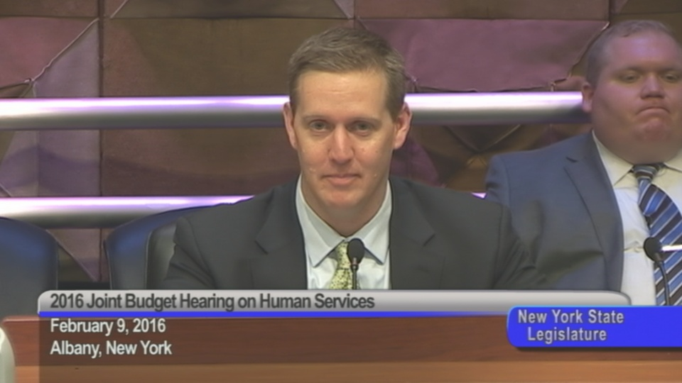 Assemblyman Hevesi Addresses Shelly Nortz of the Coalition for the Homeless during the Joint Budget Hearing on Human Services