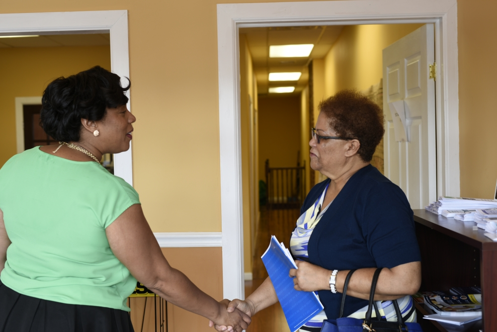 Assemblywoman Hyndman welcomes constituents during her Open House.<br />&nbsp;