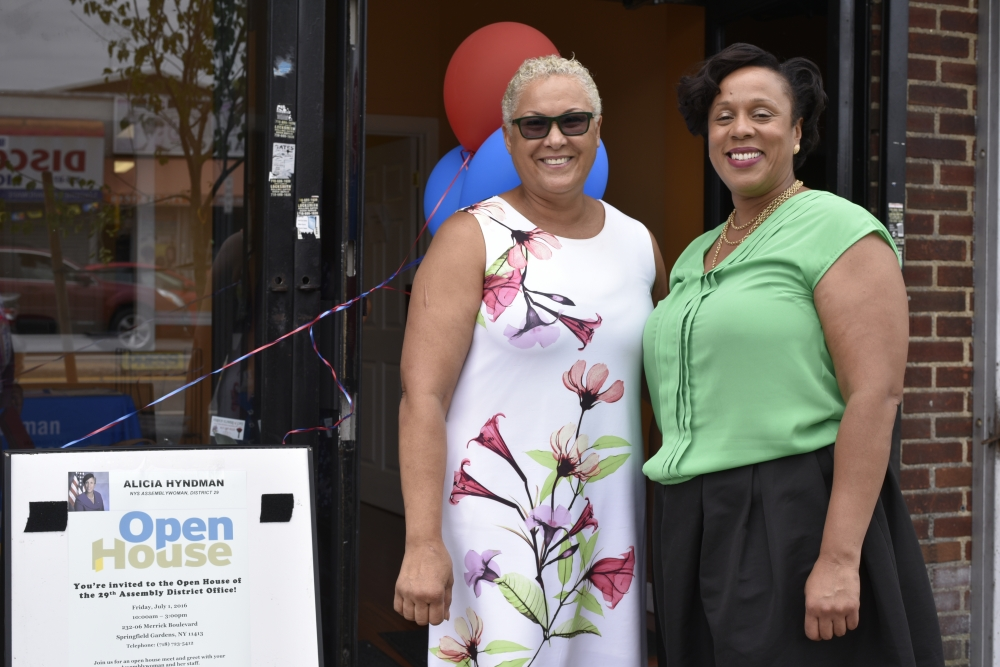 Assemblywoman Hyndman with Ms. Mildred, a local business owner.<br />&nbsp;