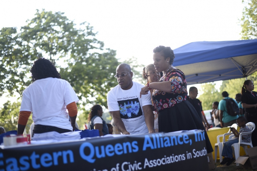 Assemblywoman Hyndman stopped by the Eastern Queens Alliance Table during National Night out against Crime