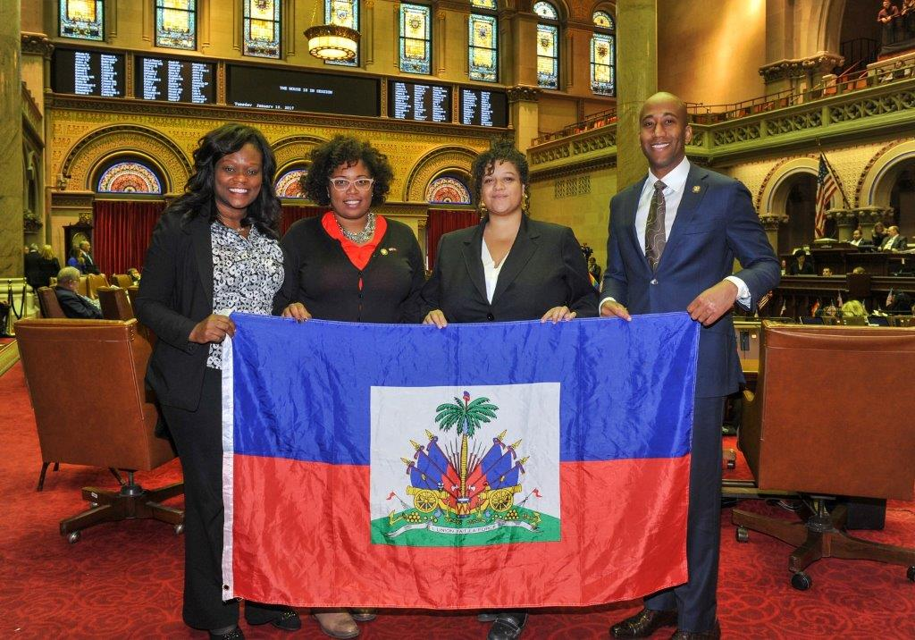 Haitian American Assembly members, Michaelle Solages of the 22nd District, Kimberly Jean-Pierre of the 11th District, Rodneyse Bichotte of the 42nd District and Clyde Vanel of the 33rd District introd