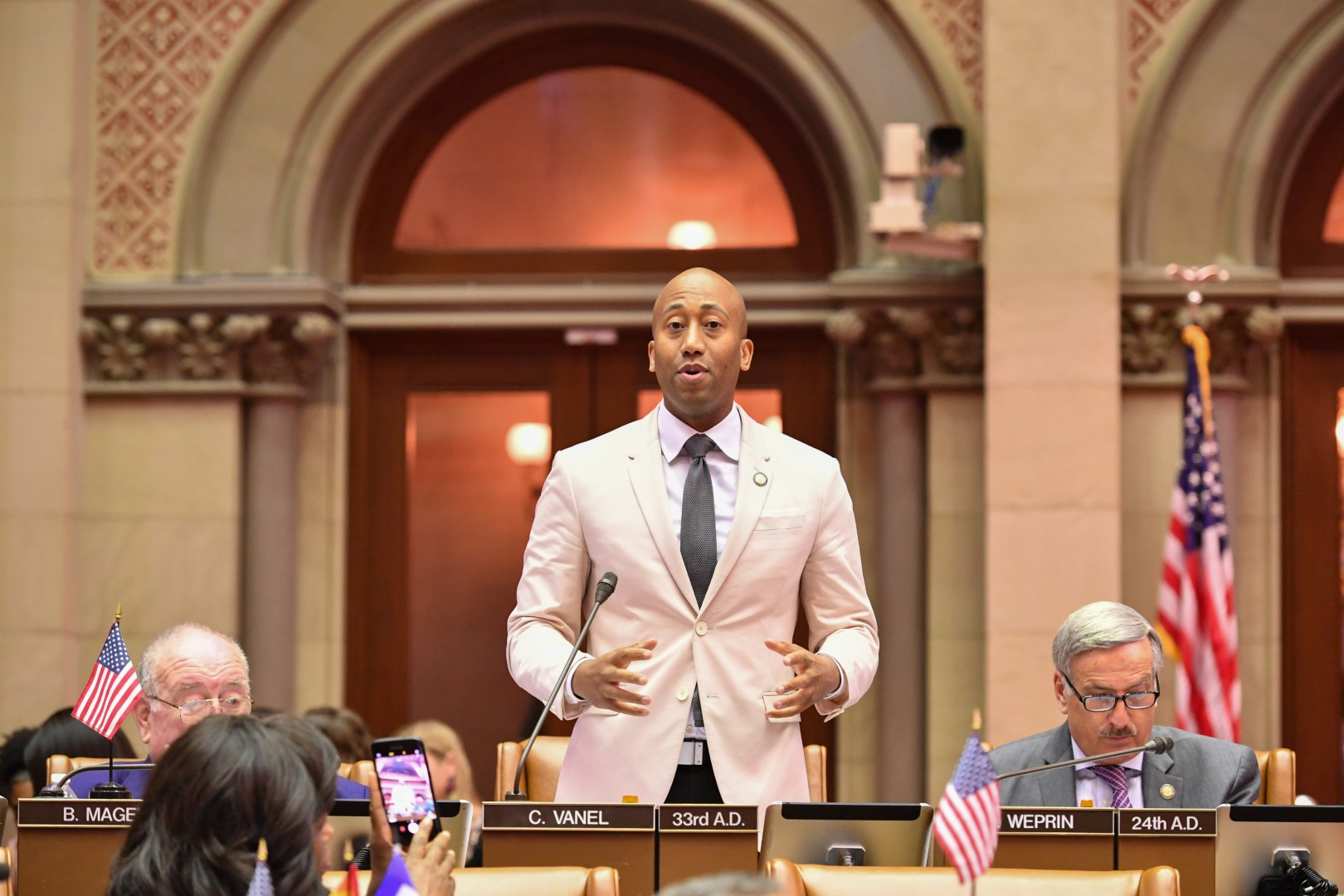 Assembly member Vanel debating on the creation of the Digital Currency Task Force Bill.