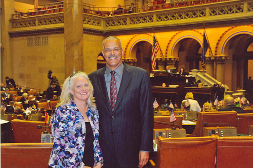 Assemblyman Aubry and President Christine Fleming of Be The Match Foundation visits the Assembly Chamber.