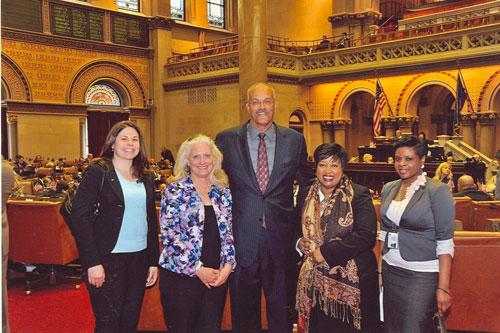 Assemblyman Aubry, President Christine Fleming of Be The Match Foundation, Katy Vesio, Chris Nicholson and Adriele Douglas in the Assembly Chamber.