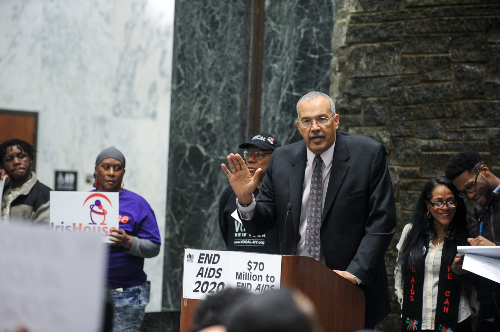 Speaking at an End AIDs rally in the Well, Legislative Office Building, Albany, NY 2016.
