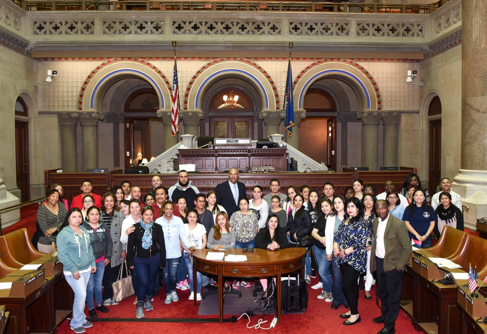 Students, teachers, & parents from P.S. 127 in Queens visit Assemblyman Aubry at the State Capitol, May 17, 2016.<br />&nbsp;