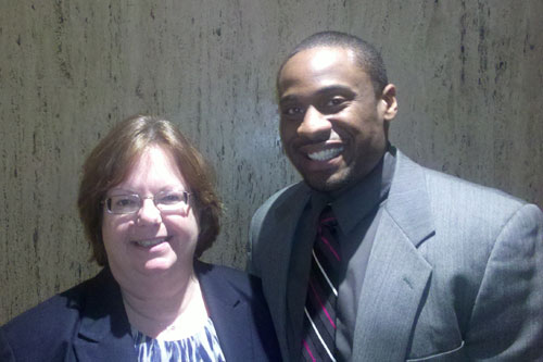 Assemblywoman Catherine Nolan with Isiah Wilson, grandson of the great community activist Mannie Wilson of Queensbridge.
