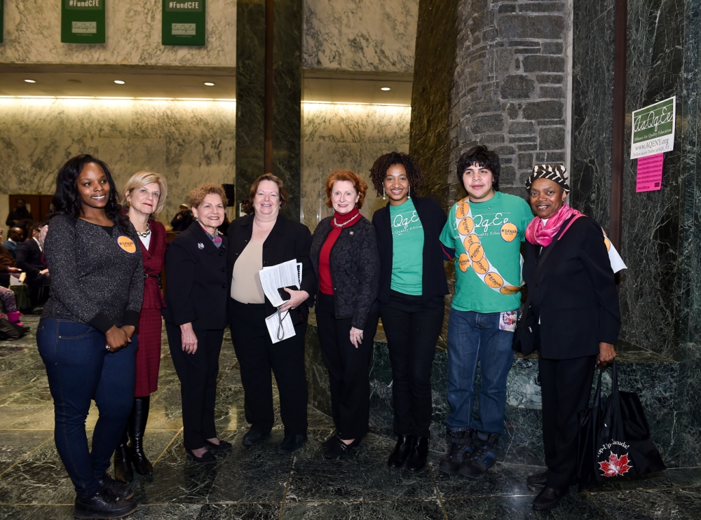 Assemblywoman Catherine Nolan recently attended an education rally with the Alliance for Quality Education. Also pictured with Assemblywoman Shelley Mayer, Assemblywoman Ellen Jaffee, State Senator Mo