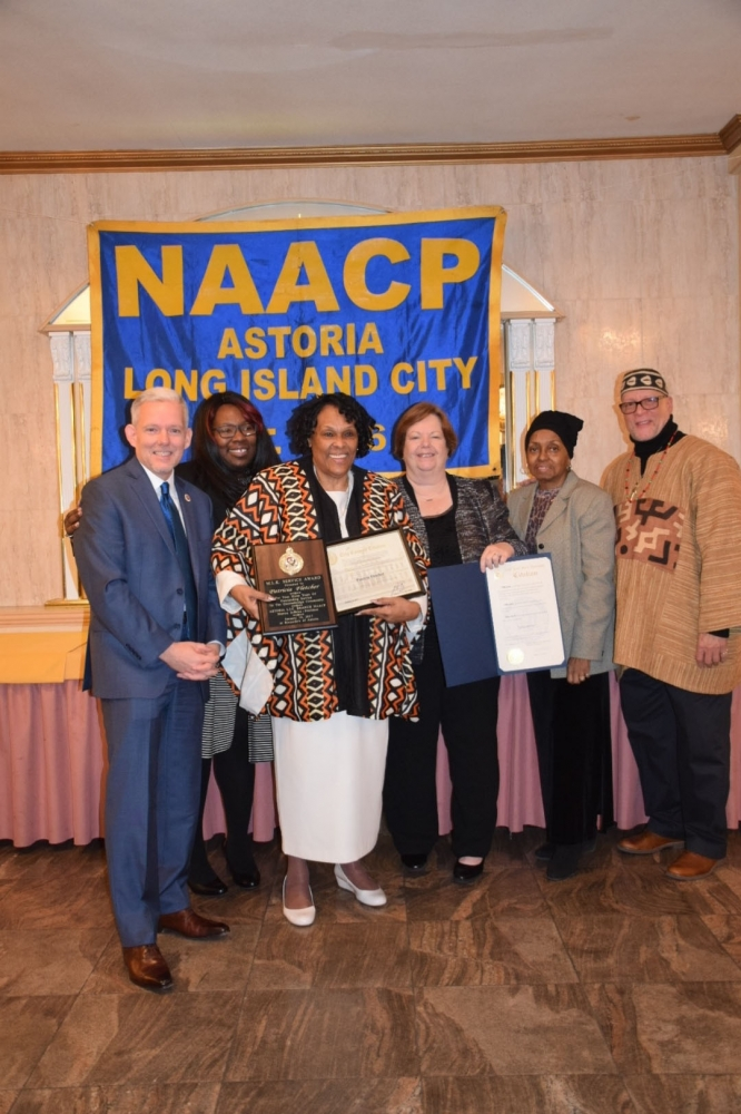 NYC Council Majority Jimmy Van Bramer, Ms. Patricia Fletcher (honoree), Assemblywoman Catherine Nolan, Marion Jeffries, President, Astoria/LIC NAACP and Andrew P. Jackson.