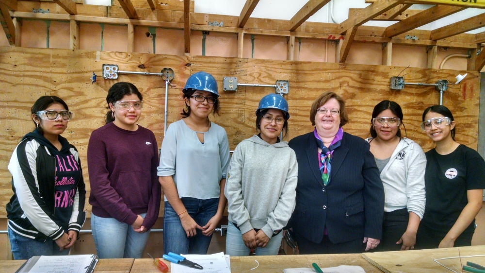 Assemblywoman Catherine Nolan with several students from Queens Vocational High School participating in Career & Technical programs.