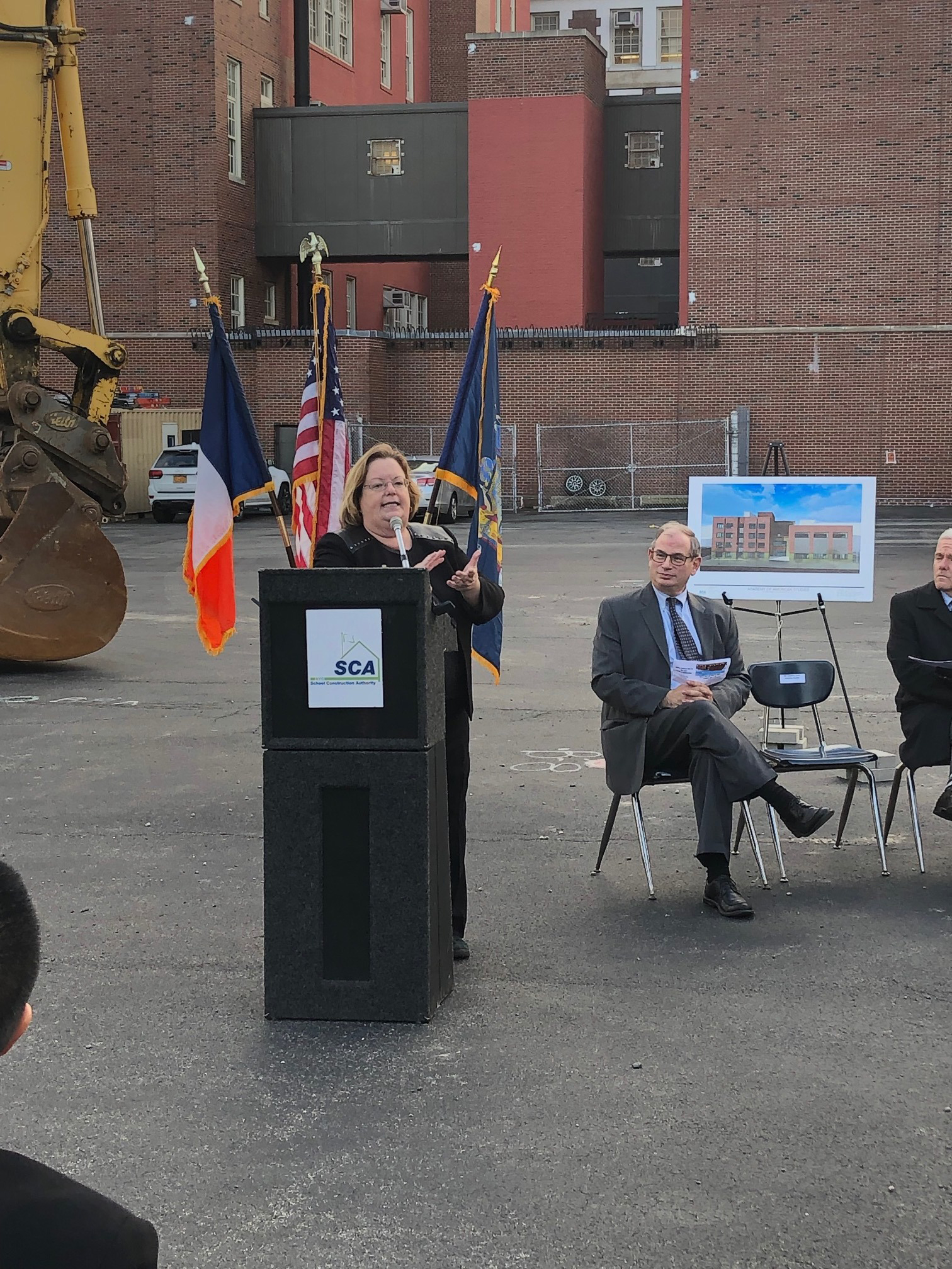 Assemblywoman Catherine Nolan speaking to the crowd.
