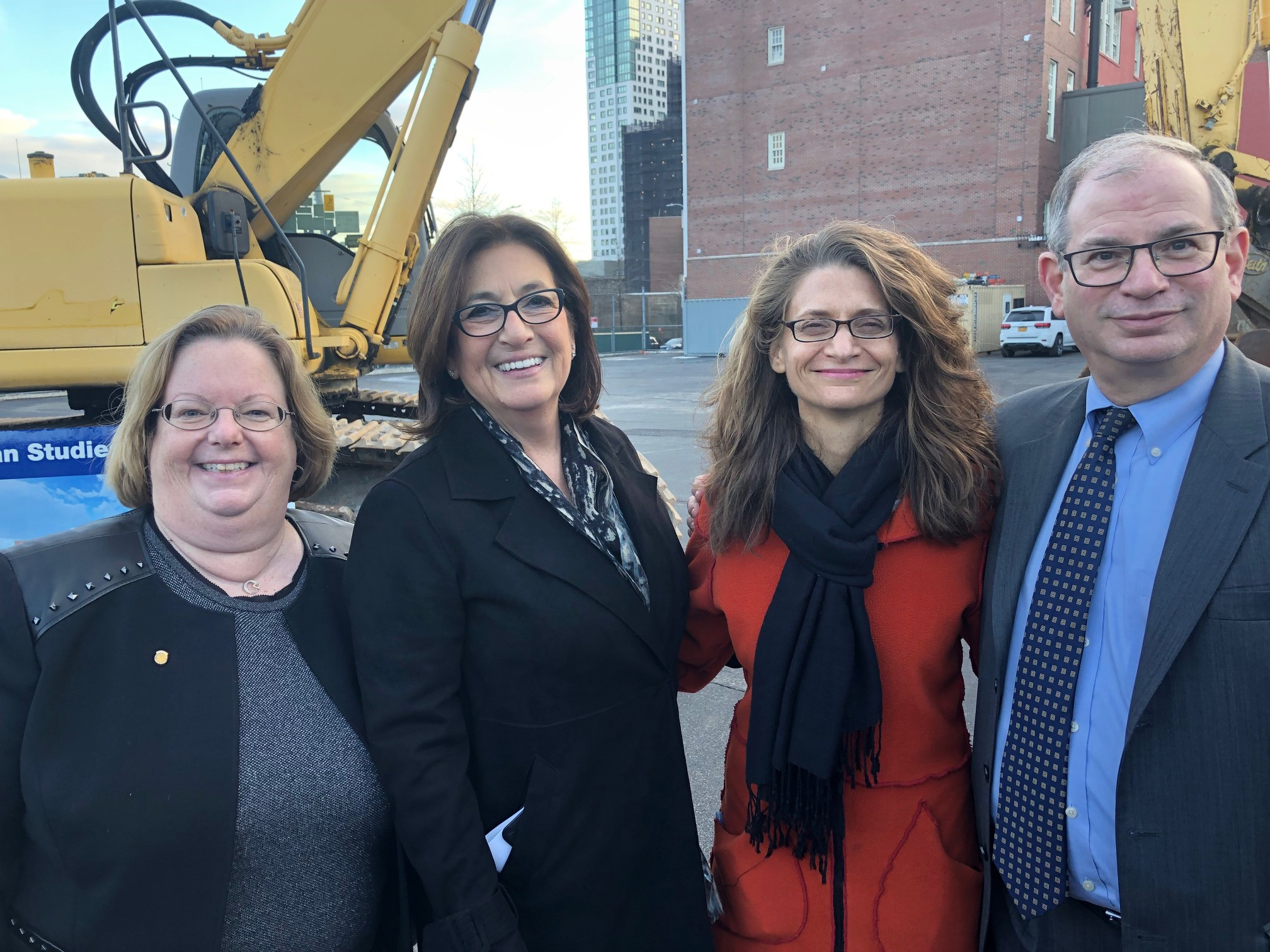 Assemblywoman Catherine Nolan, Lorraine Grillo, President, School Construction Authority, Karin Goldmark, Deputy Chancellor, School Planning & Development and William Bassell, Principal, Academy o