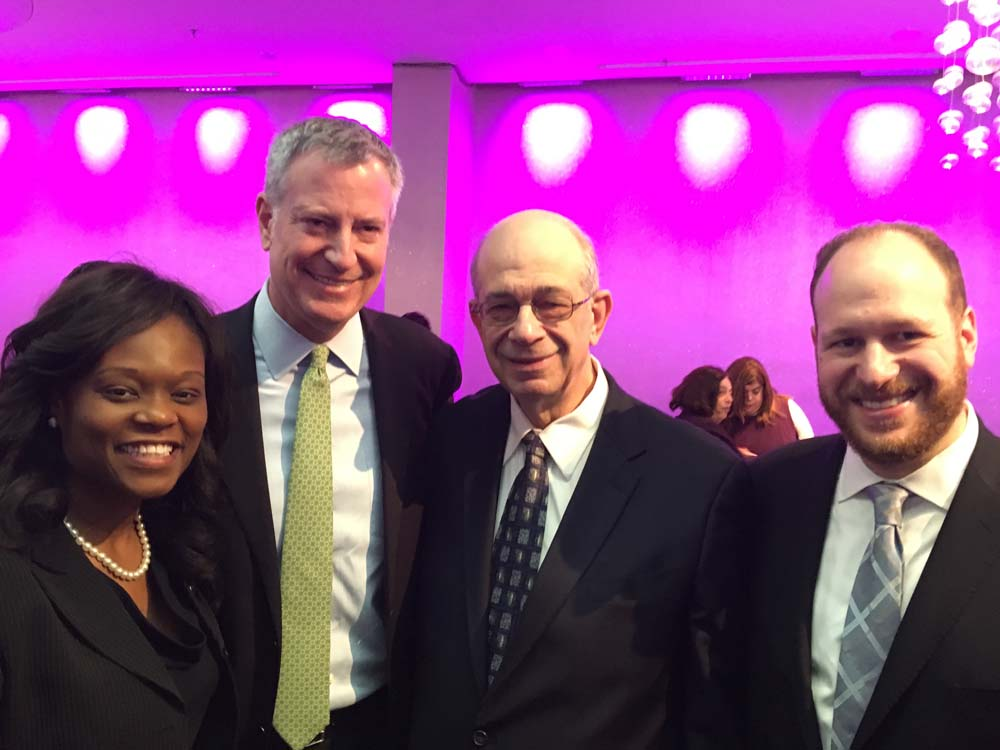 Assemblymember Bichotte, left, with Mayor Bill DeBlasio, Jerry Greenwald, Editor, and CEO of the Jewish Press, and Council Member David Greenfield at the Legislative Breakfast hosted by the Council fo