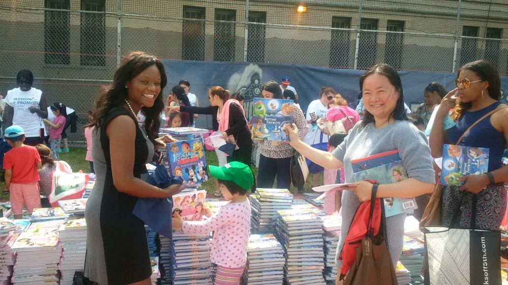 Assemblymember Bichotte participates in the book giveaway hosted by the United Federation of Teachers (UFT)