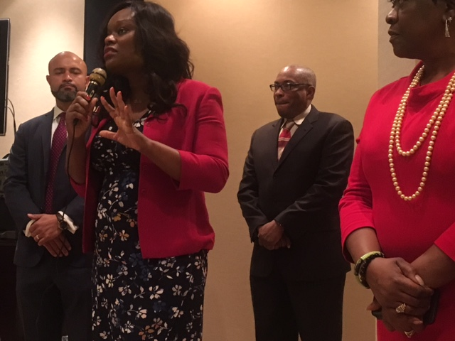 Assembly Member Rodneyse Bichotte brings greetings to the attendees at the Buffalo to Brooklyn Reception during Caucus Weekend 2017.