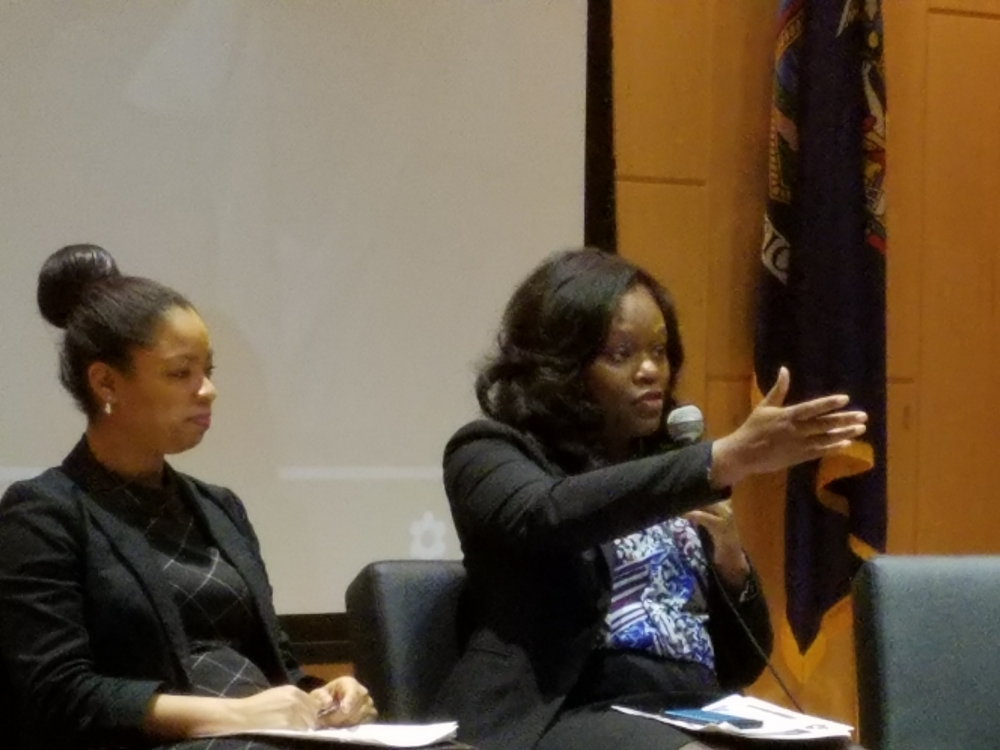 Assembly Member Rodneyse Bichotte participates in a panel at the 6th Annual Shirley Chisholm Women's Empowerment Conference at Medgar Evers College during Women's History Month.