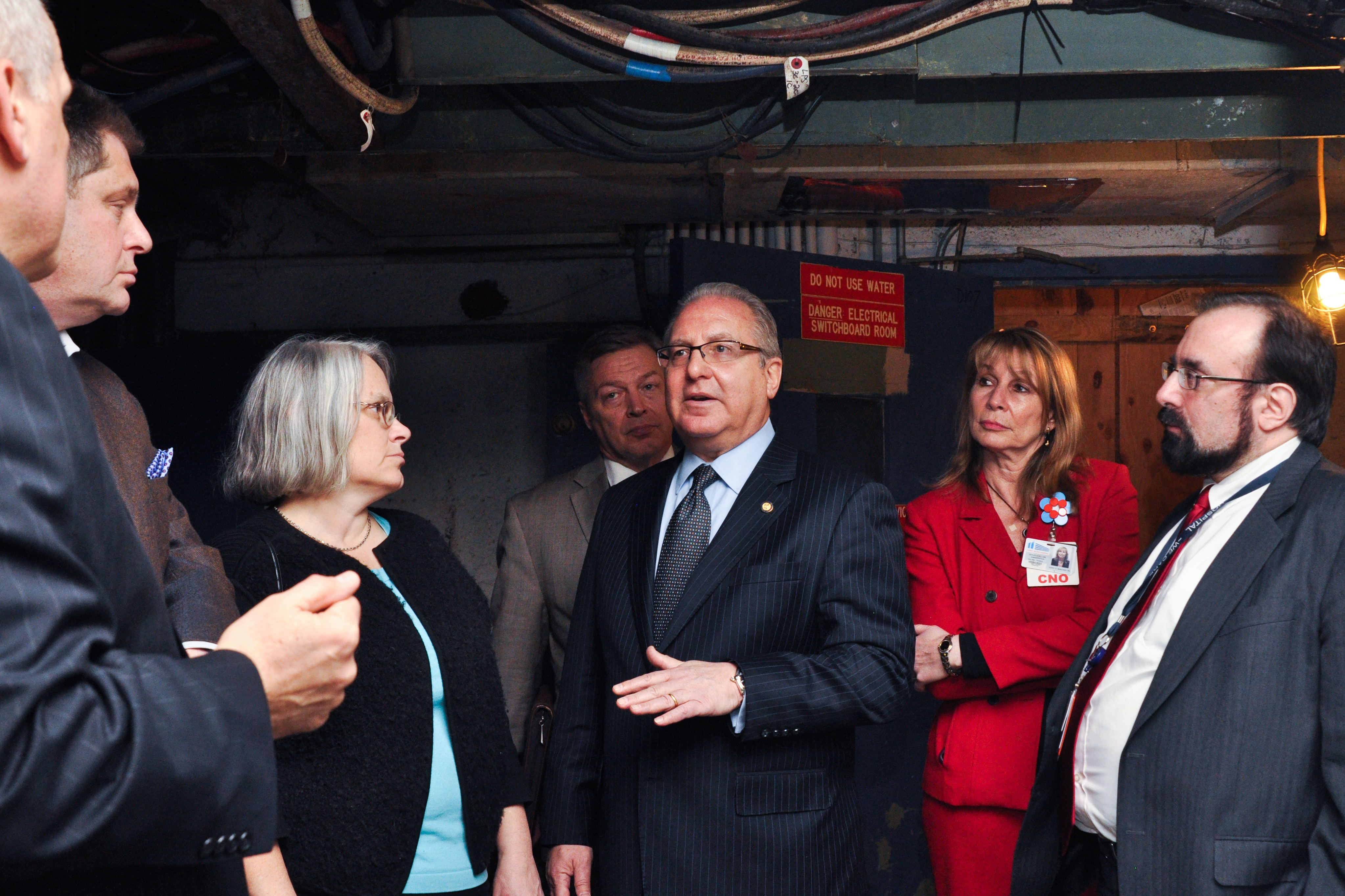 Assemblyman Steven Cymbrowitz visits Coney Island Hospital shortly after Superstorm Sandy. With him are Executive Director of Coney Island Hospital Arthur Wagner, Assembly Member Alec Brook-Krasny, Assembly Member Helene Weinstein, Coney Island Hospital's Director of Department of Operations Peter Lucey (behind M/A Cymbrowitz), Coney Island Hospital's Chief of Nursing Terry Mancher, and Coney Island Hospital's Chief Medical Officer Dr. John Maese.