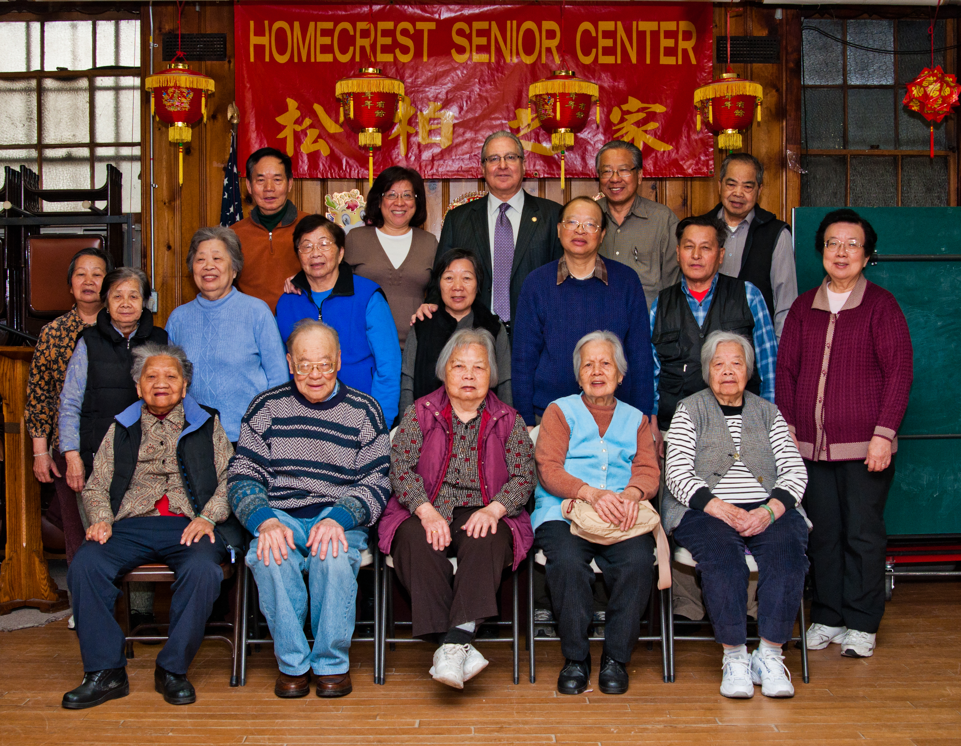 Assemblyman Steven Cymbrowitz pays a visit to seniors celebrating the Chinese New Year at the Homecrest Senior Center.
