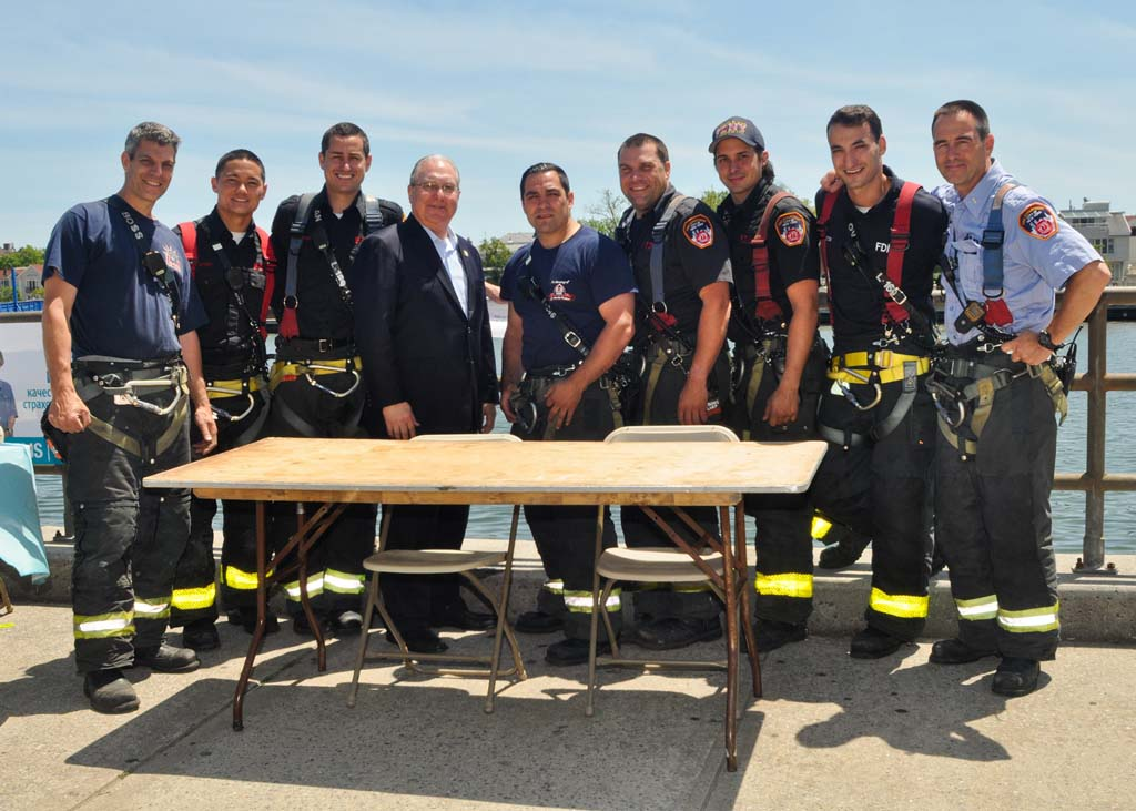 Assemblyman Cymbrowitz with some of New York's Bravest.