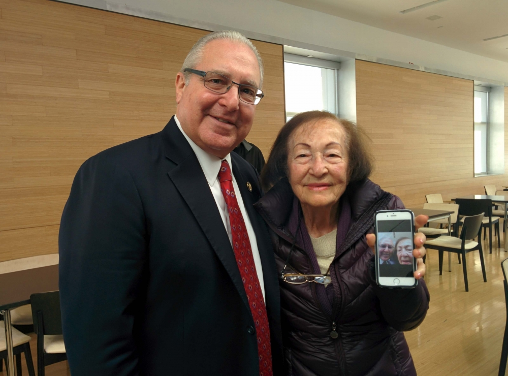Assemblyman Cymbrowitz and a constituent proudly show off their selfie. As Chairman of the Assembly's Aging Committee, the Assemblyman joined representatives from AT&T at the Sephardic Community Center for AT&T's Digital You program, which educated seniors on how to use technology safely and securely.
