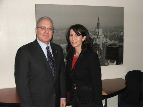 Assemblyman Cymbrowitz with Commissioner Katherine Oliver of the Mayor's Office of Film, Theatre and Broadcasting, after meeting with her to find a solution to the parking problem caused by her agency issuing parking permits for TV productions around the JC Studios on East 14th Street and Avenue M, leaving no spaces for residents and local shoppers.