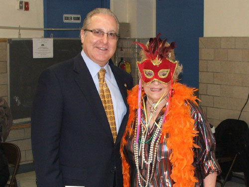 "Assemblyman Cymbrowitz is pictured with one of the ""characters"" he ran into while visiting Our Lady of Grace's Senior Center shortly before Halloween."