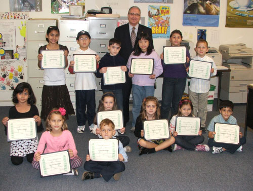 Assemblyman Cymbrowitz with some of the young participants in his Summer Reading Challenge. To encourage reading over the summer months the Assemblyman presented an Assembly Excellence in Reading Certificate to any student who read for at least 15 minutes a day on 40 or more days over their vacation.