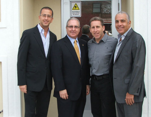 Assemblyman Steven Cymbrowitz, who has been appointed chairman of the Assembly's Alcoholism and Drug Addiction Committee, visited SAFE's (Sephardic Addiction and Family Education) newly completed building which provides both state of the art functionality for the staff and client privacy. Thanking Assemblyman Cymbrowitz for the funding he provided for the project is SAFE's leadership (L-R) Isaac Chera, President, Ike Dweck, Executive Director, and Eddie Gindi, Vice President.