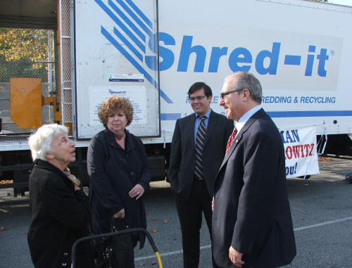 To help his constituents protect themselves from identity theft Assemblyman Cymbrowitz arranged for free document shredding. Community residents brought material containing sensitive personal information to the shredding truck and watched as their personal information was destroyed. The truck was parked in Bay Academy's school yard.