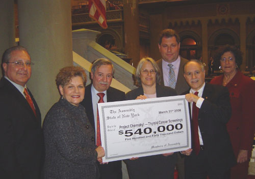 Assemblyman Colton is seen here with the Brooklyn delegation celebrating their success in appropriating money for Project Chernobyl, a group that helps immigrant victims who were affected by the tragic nuclear accident at the Chernobyl Nuclear Power Plant in the Ukraine in 1986. (Pictured left to right: Assemblyman Steven Cymbrowitz, Assemblywoman Ellen Jaffee, Assemblyman Peter Abbate, Assemblywoman Helene Weinstein, Assemblyman Alec Brook-Krasny, Assemblyman William Colton and Assemblywoman Audrey Pheffer)