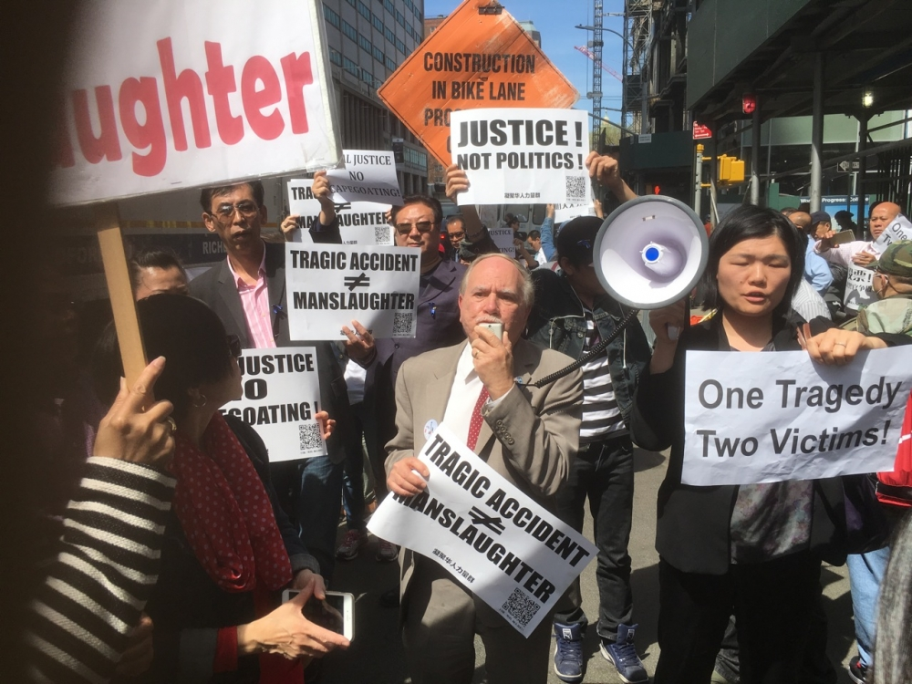 Assemblymember William Colton and Chief of Staff Susan Zhuang at a rallying protesting the scapegoating of Peter Liang.