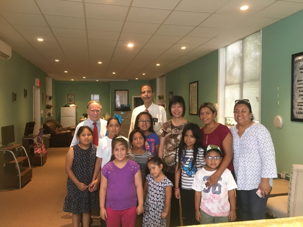 Most Precious Blood summer youth program visited by Assemblymember William Colton and Community Leaders Nancy Tong and Charles Ragusa.