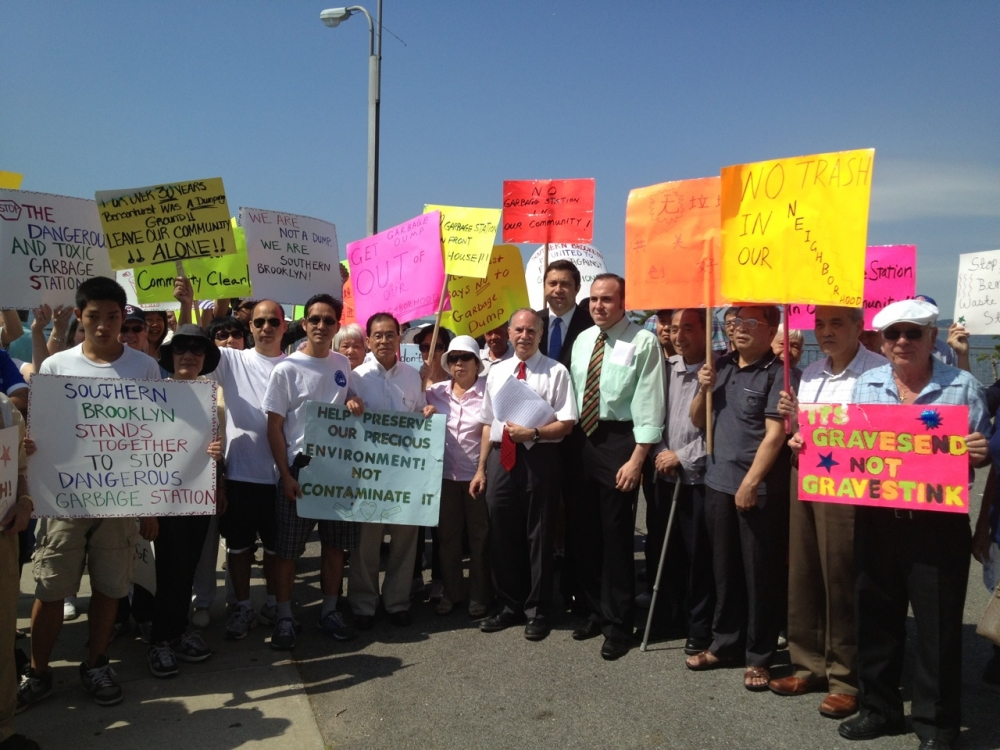 Assemblymember Colton and Council Member Mark Treyger at one of numerous protests against the building of the Southwest Brooklyn Garbage station at Shore Parkway and Bay 43rd Street.<br />&nbsp;