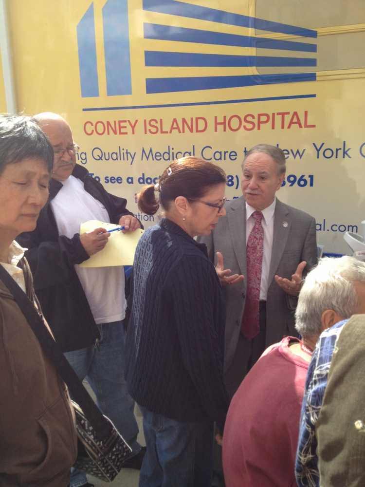 Assemblymember William Colton in front of Coney Island Hospital Health for a screening event he arranged for his constituents at his District Office.&nbsp;<br />&nbsp;