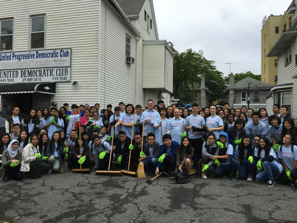 Assemblymember William Colton with Chief of Staff Susan Zhuang and Community relations Director Nancy Tong at one of many neighborhood cleanups completed by hundreds of  high school students, who volu