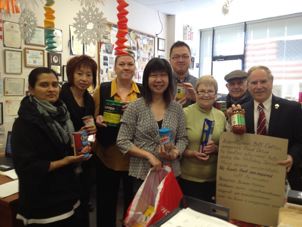 Assemblymember William Colton,  Coummunity Relations Director Nancy Tong and office staff members following one of numerous successful food drives organized by his office.