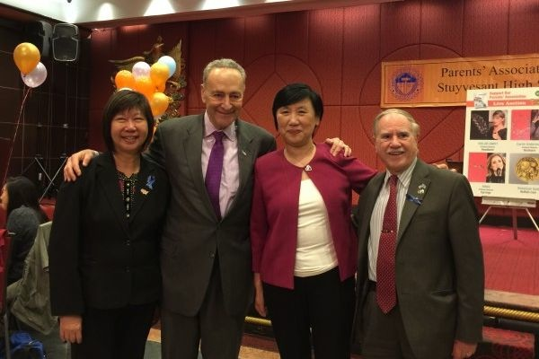 Assemblymember William Colton and Community Relations Director Nancy Tong with Senator Charles Schumer at Stuyvesant HS PA Dinner in 2016.<br />&nbsp;
