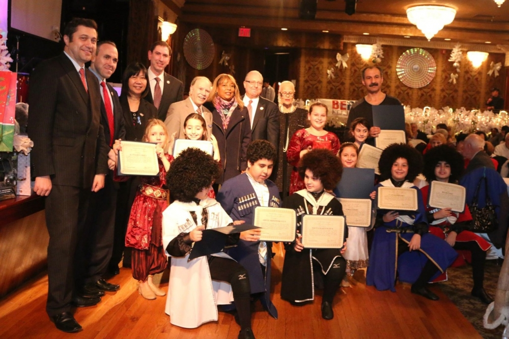 Assemblymembers William Colton, Pamela Harris and Steven Cymbrowitz, Council Members Mark Treyger and Chaim Deutch, Community Relations director Nancy Tong and Community leaders Ari Kagan and Theresa Sciavo at a Be Proud Foundation Channukah celebration. &nbsp;<br />&nbsp;