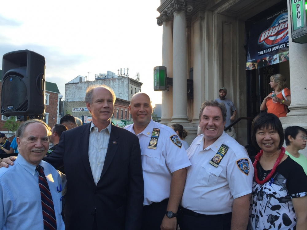 Assemblymember William Colton with Congressman Daniel Donovan, Community Leader Nancy Tong and 62nd Precinct Captain Anthony Sanserverino and Chief Chales School at 62nd Pct. Nite Out Against Crime in 2016.<br />&nbsp;<br />&nbsp;