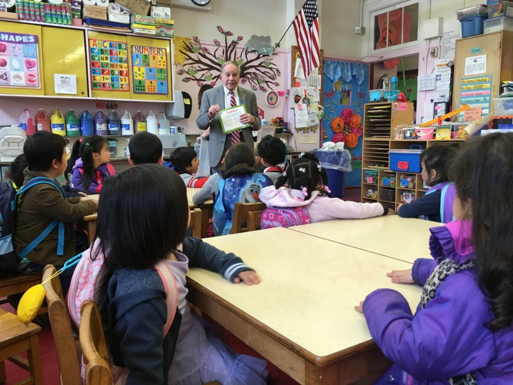 Assemblymember William Colton reading to kindergarten class at Public school 212.