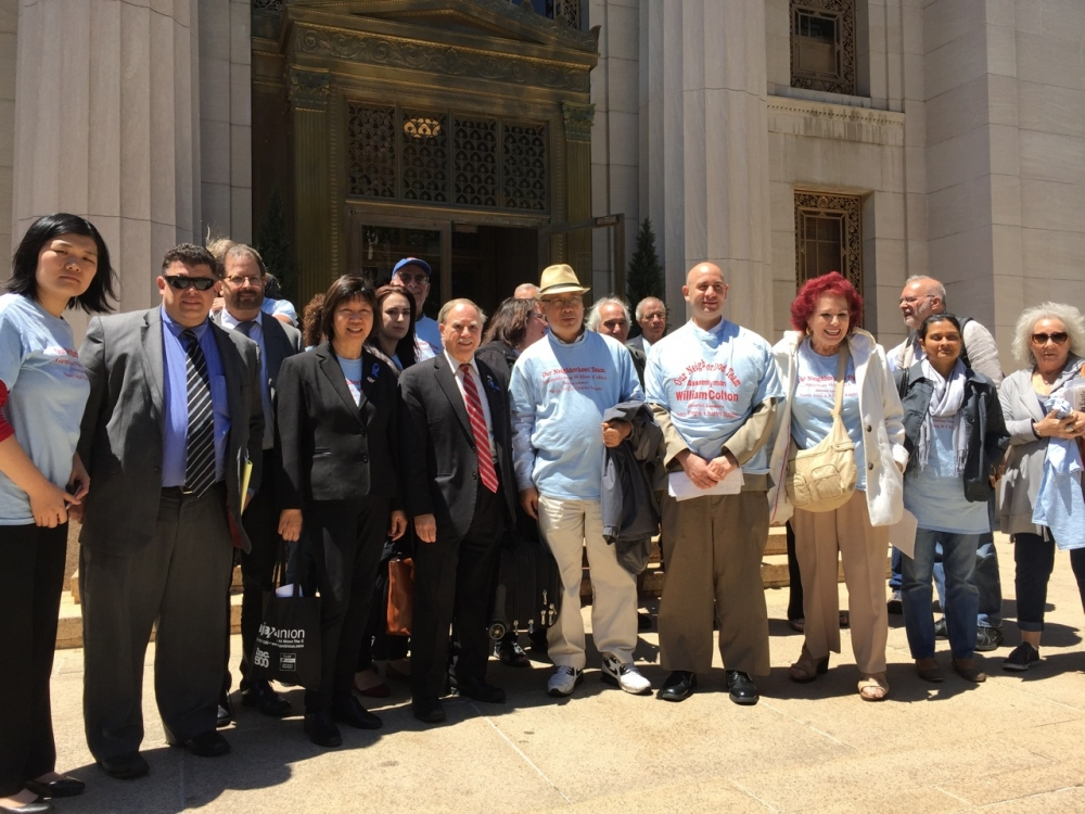 Assemblymember William Colton with pro bono co-counsel Chris Robles, Chief of Staff Susan Zhuang, Community Relations director Nancy Tong  and community leaders outside the Appellate Division Courthou