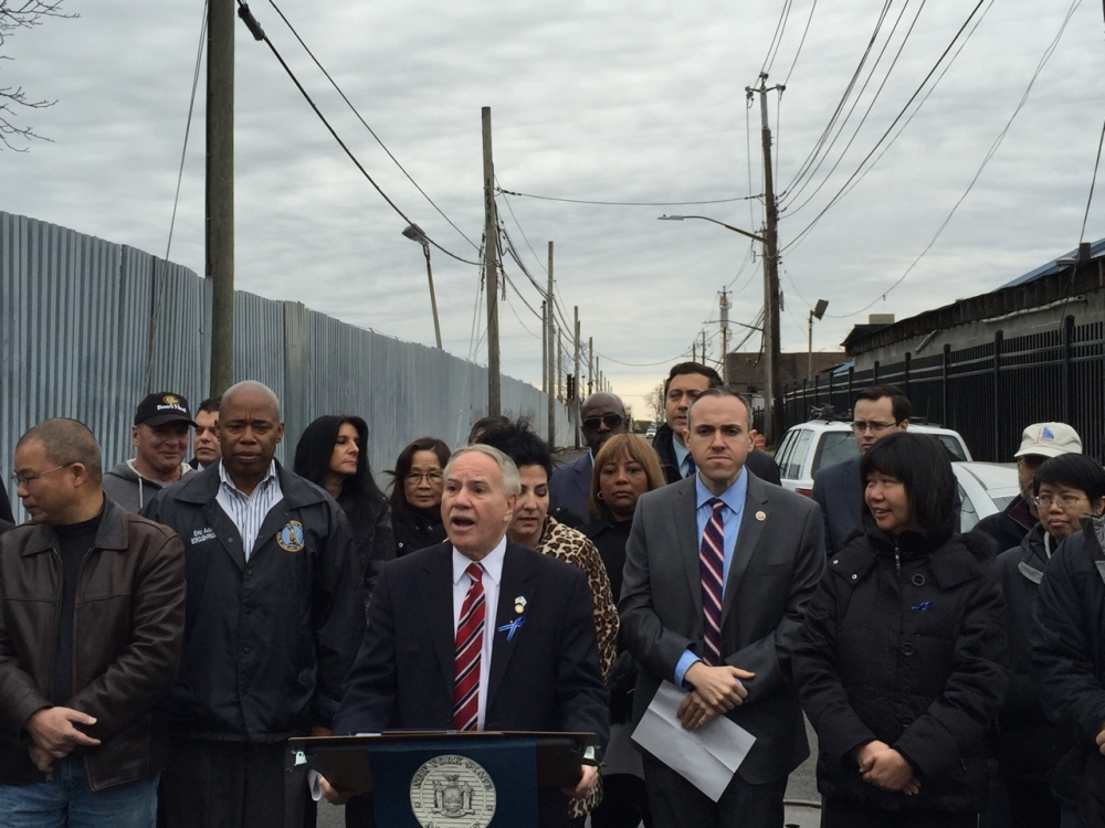 Assemblymembers William Colton and Pamela Harris, Borough President Eric Adams, State Senator Diane Savino, Council Member Mark Treyger, Community Relations Director Nancy Tong, and numerous community leaders including Ari Kagan and Steve Chung at a Press Conference protesting the building of the Southwest Brooklyn Garbage Station.<br />&nbsp;