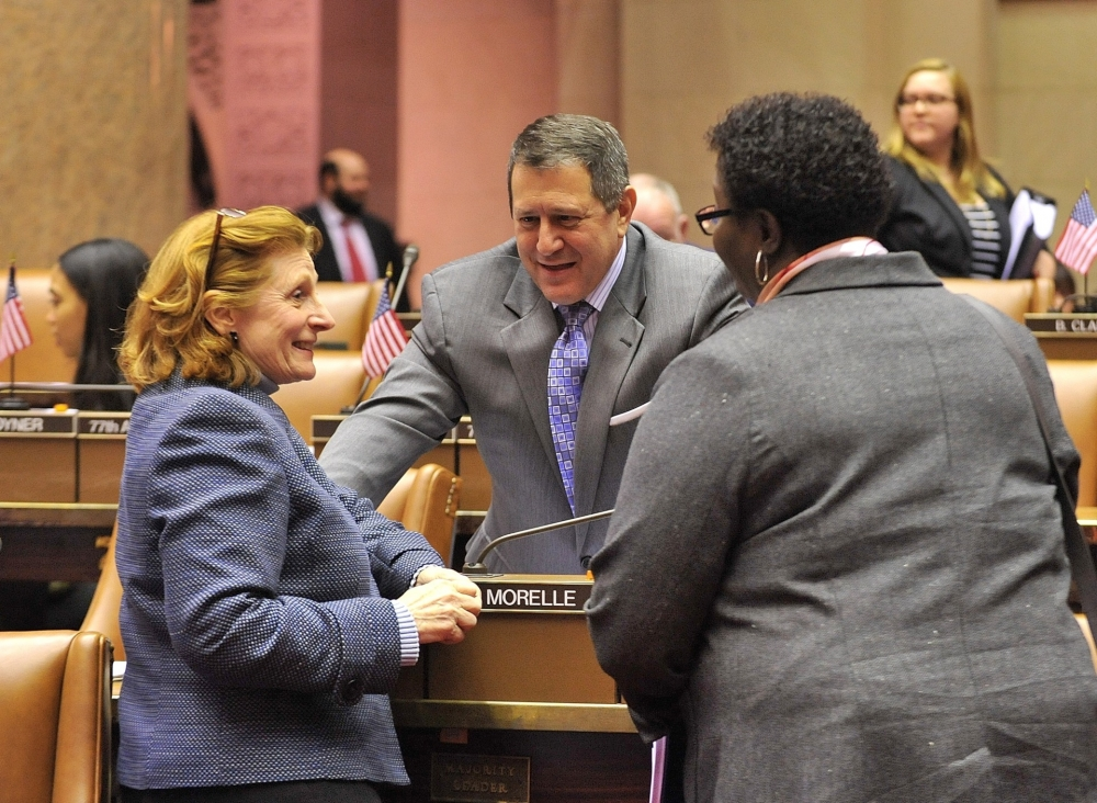 Assemblymember Jo Anne Simon discusses state budget negotiations with Assembly Majority Leader Joe Morelle and her Brooklyn colleague Roxanne Persaud (D-Canarsie).  