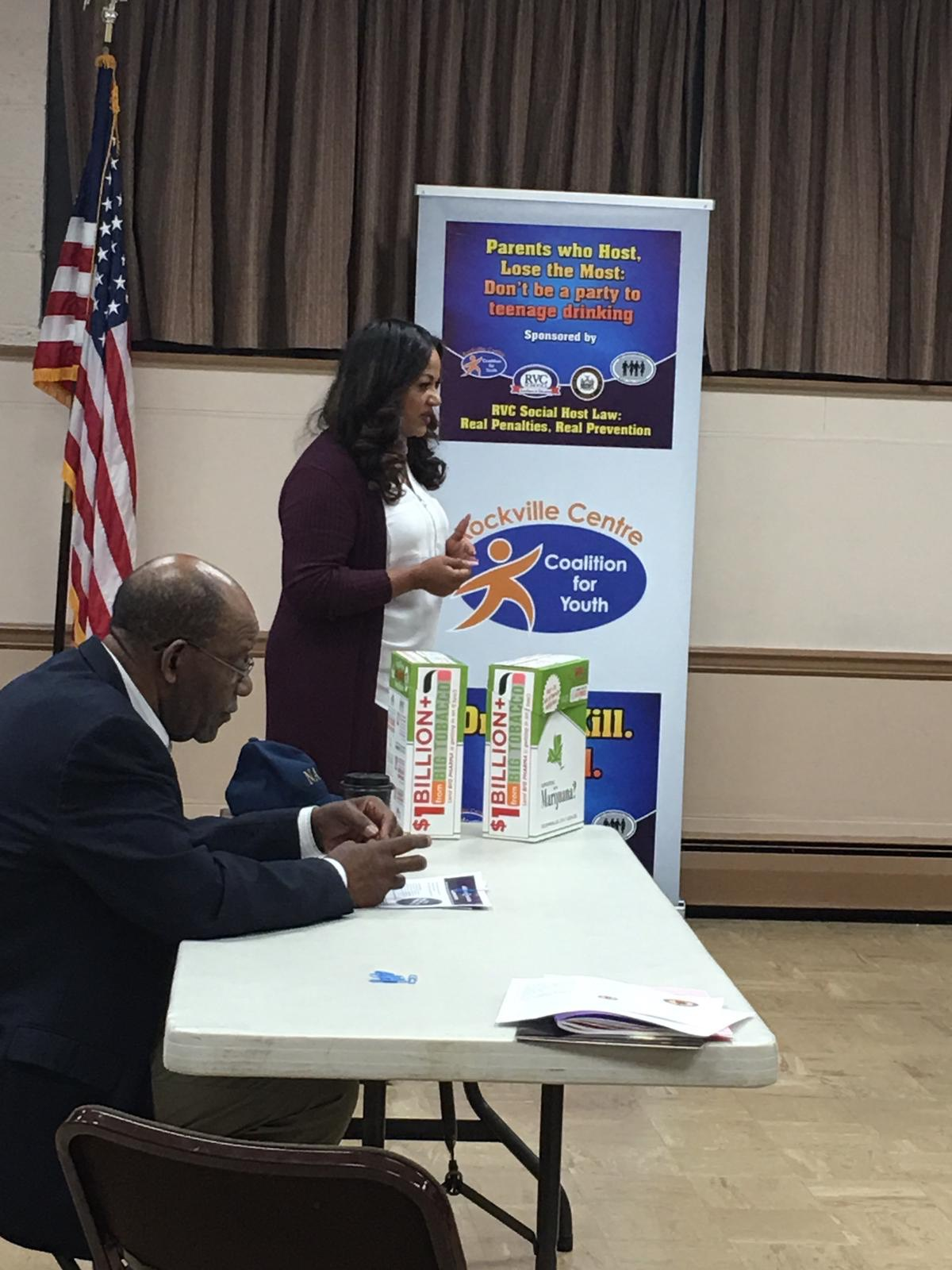 Speaking at the local NAACP chapter in Freeport Long Island in conjunction with the Rockville Center Coalition for youth.