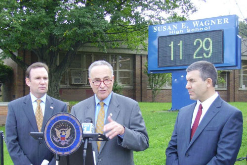 Assemblyman Cusick, Senator Schumer and principal of Wagner High School – Announcement of RX Program in Staten Island.