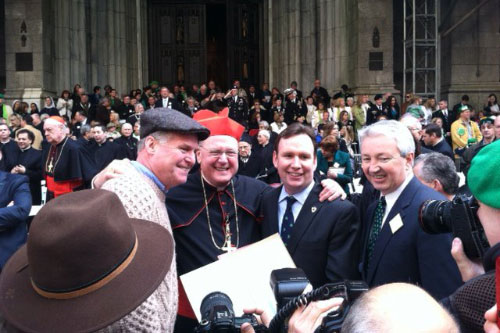 St. Patrick's Day Parade with Assemblyman Fitzpatrick, Cardinal Dolan, Assemblyman Cusick, and Phil Boyle.