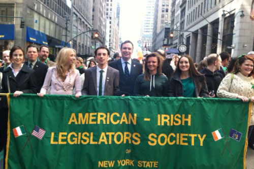 Assemblyman Cusick and the American Irish Legislators Society march in the '2012 St. Patrick's Day Parade'.