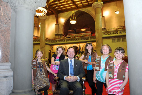 Assemblyman Cusick at the State Capitol in Albany with the Girl Scout volunteers who participated in the New York State Assembly Legislative Disabilities Awareness Day on May 21, 2012.