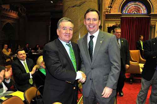 Assemblyman Cusick and Alfred E. Smith IV in the Assembly Chamber at the State Capitol. Mr. Smith was introduced during the Assembly Session on Monday, March 11th. He was in town receiving a Special Acknowledge Award for his charitable work by the American Irish Legislators Society at their 40th Annual Dinner.