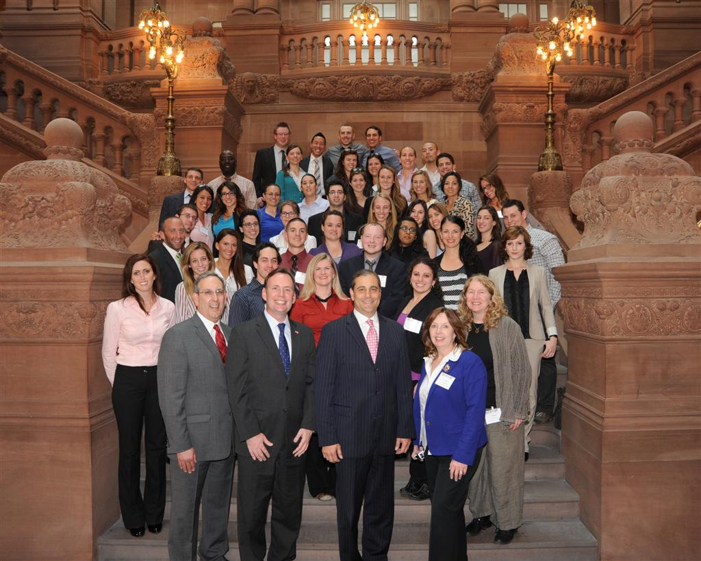Assemblyman Michael Cusick and Senator Andrew Lanza join the College of Staten Island Physical Therapy students for a photo at the State Capital.
